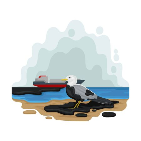 Seagull sits on an oil slick. Vector illustration on a white background.