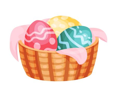 Easter eggs in a basket. Vector illustration on a white background.