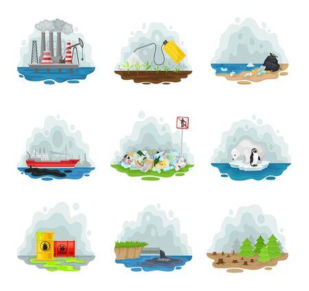 Set of types of air pollution. Vector illustration on a white background. Ilustração