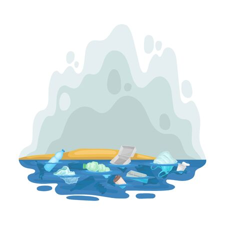 Trash floats in the water. Vector illustration on a white background. Banco de Imagens - 129229814
