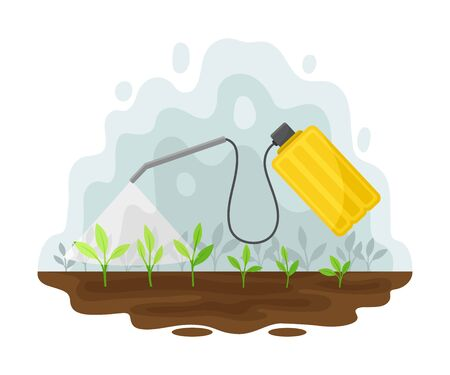 Yellow spray bottle poisons the plants. Vector illustration on a white background. Banco de Imagens - 129229808