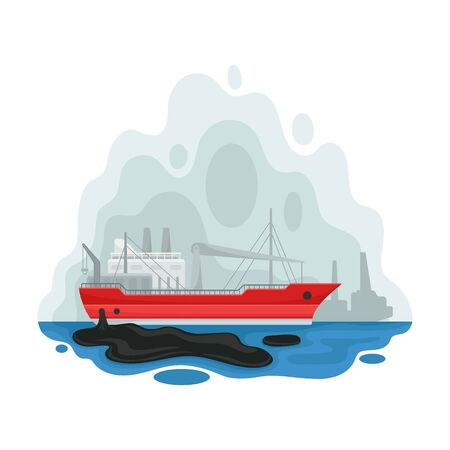 Barge in the middle of the sea. Vector illustration on a white background.
