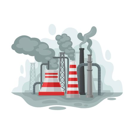 Factory pipes. Vector illustration on a white background.