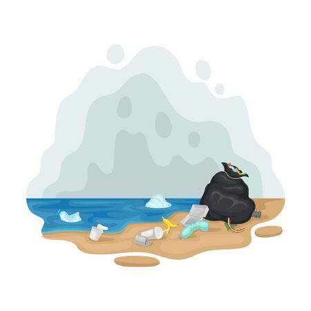 Black bag with garbage on the seashore. Vector illustration on a white background.