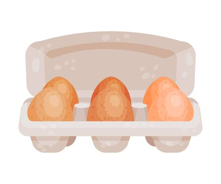 Whole eggs in the package. Vector illustration on a white background.