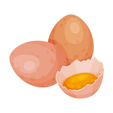 Raw eggs. Vector illustration on a white background. Иллюстрация