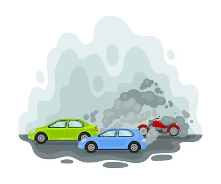 Car among the exhaust. Vector illustration on a white background. Иллюстрация