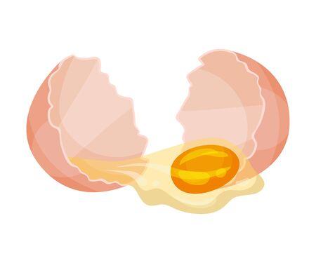 Huevo roto. Ilustración de vector sobre fondo blanco. Ilustración de vector