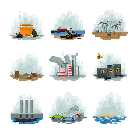 Set of types of different ways of air pollution. Vector illustration on a white background.