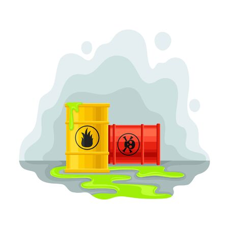 Barrels with next to a green puddle. Vector illustration on a white background. Иллюстрация
