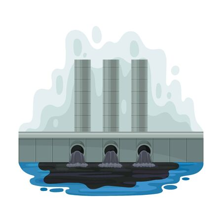 Black liquid flows into the water. Vector illustration on a white background.