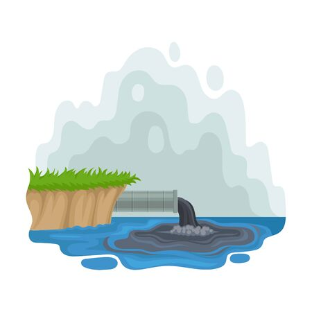 Pipe sticks out of the shore. Vector illustration on a white background.