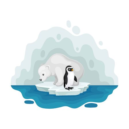 Polar bear and penguin on an ice floe. Vector illustration on a white background.