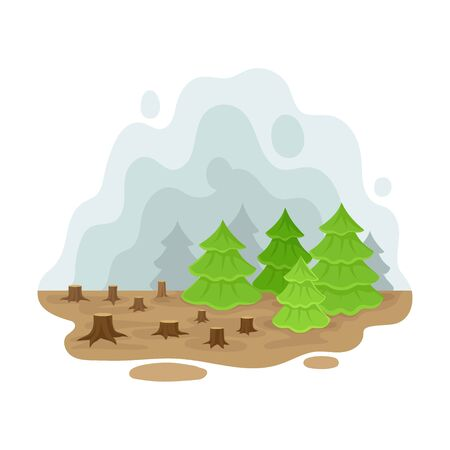 Place deforestation. Vector illustration on a white background. Иллюстрация