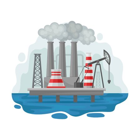 Oil platform in the middle of the sea. Vector illustration on a white background. Иллюстрация