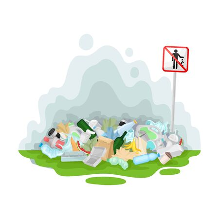 Mountain of garbage in a green meadow. Vector illustration on a white background.