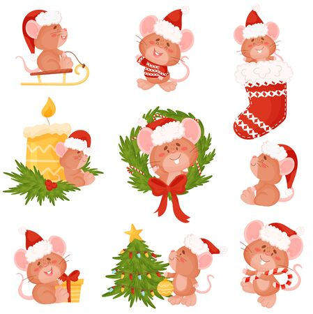 Set of cute mice in a Christmas hat. Vector illustration on a white background.