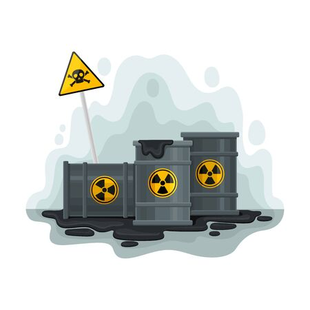 Gray barrels of oil. Vector illustration on a white background. Иллюстрация