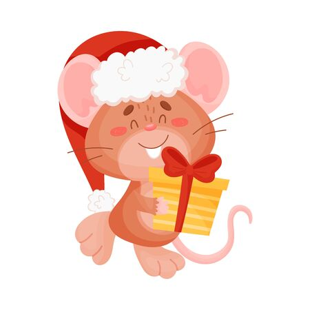 Cute brown mouse with a gift. Vector illustration on a white background. Banco de Imagens - 129229777