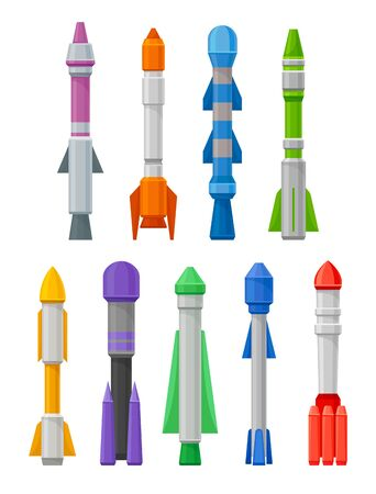 set of missiles of various shapes and colors. Vector illustration on a white background.