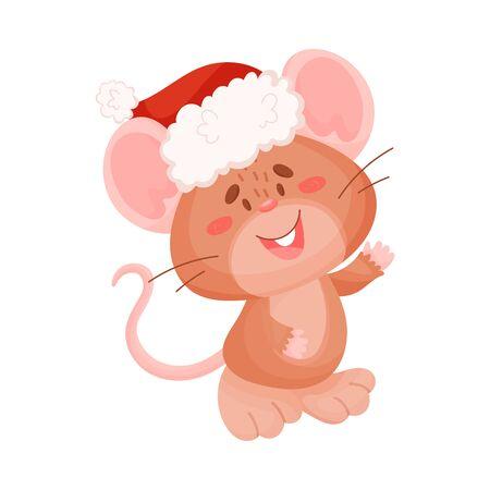 Cute brown mouse. Vector illustration on a white background. Ilustração