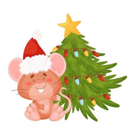 Cute little mouse is sitting near a Christmas tree. Vector illustration on a white background. Banco de Imagens - 129229786