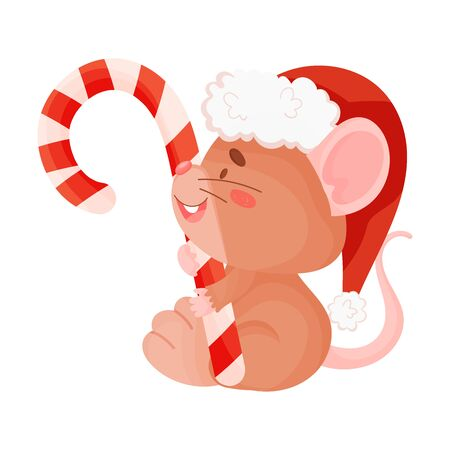 Cute little mouse with a lollipop. Vector illustration on a white background.