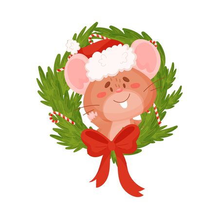 Cute brown mouse and christmas wreath. Vector illustration on a white background.