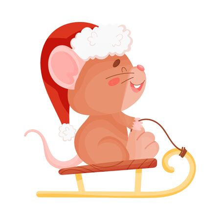 Cute brown mouse rides on a sled. Vector illustration on a white background. Banco de Imagens - 129229784
