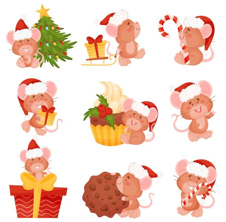 Set of cartoon mice in a Christmas hat. Vector illustration on a white background.