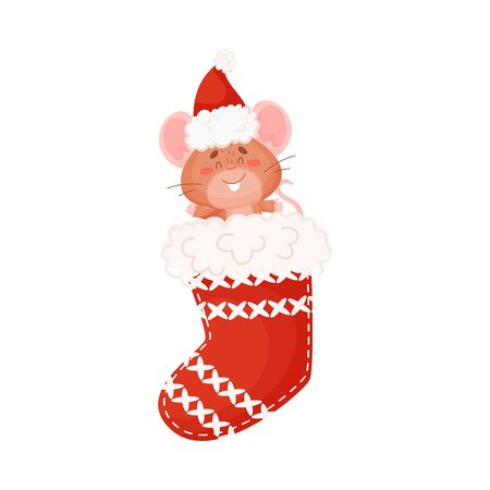 Cute brown mouse sits in a Christmas sock for gifts. Vector illustration on a white background. Çizim