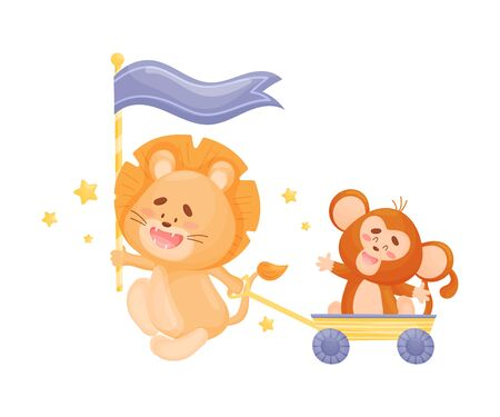 Cartoon lion carries a blue flag and pulls a yellow wheelbarrow with a monkey. Vector illustration on a white background.