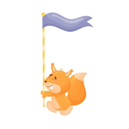 Cartoon squirrel with a flag. Vector illustration on a white background. Иллюстрация