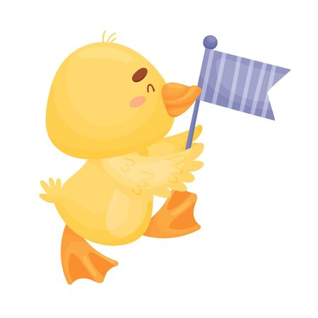 Cartoon yellow duckling. Vector illustration on a white background.