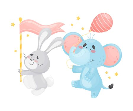 Cartoon gray hare with a pink flag and an elephant with a striped balloon in the parade. Vector illustration on a white background.