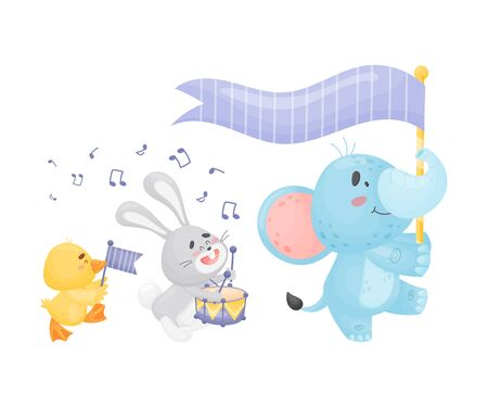 Cartoon duckling, hare and elephant in the parade. Vector illustration on a white background.