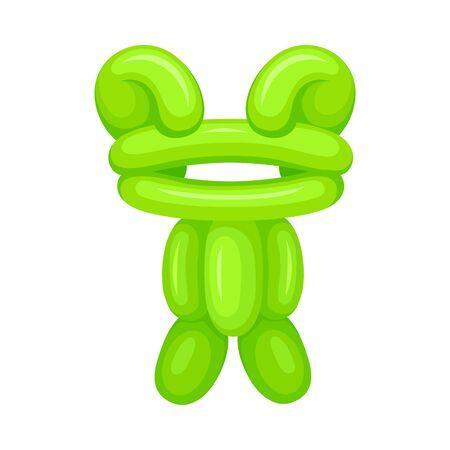 Balloon frog. Vector illustration on a white background. Ilustração