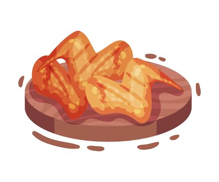 Fried chicken wings. Vector illustration on a white background.