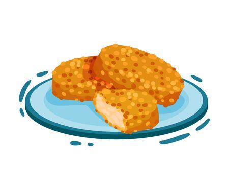 Polpette di pollo impanate. Illustrazione vettoriale su sfondo bianco.