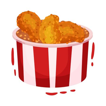 Nuggets with a paper bucket. Vector illustration on a white background.