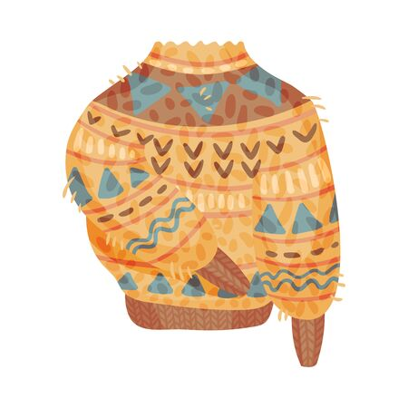 Warm knit beige sweater with a blue and brown pattern. Vector illustration on a white background.