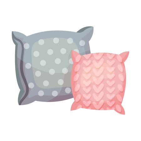 Gray pillow with circles and a pink pillow with a pattern in the shape of corners. Vector illustration on a white background.