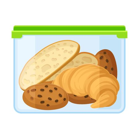 container with bread, croissant and cookies. Vector illustration on a white background. 일러스트