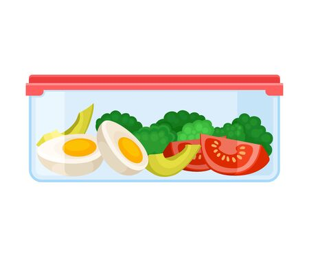container with slices of boiled egg, broccoli and tomatoes. Vector illustration on a white background.