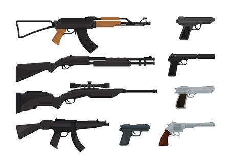 Set di pistole, fucili d'assalto e pistole. Illustrazione vettoriale su sfondo bianco. Vettoriali