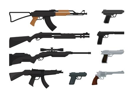 Set of guns, assault rifles and pistols. Vector illustration on a white background. Vector Illustration
