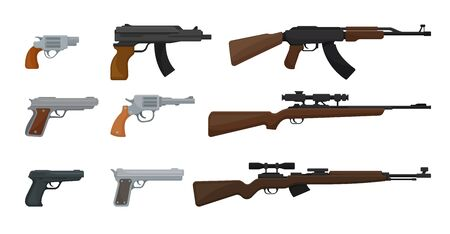 Set of guns, assault rifles and pistols, sniper rifles. Vector illustration on a white background.