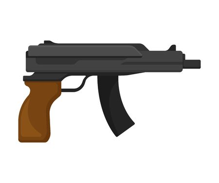 Small black sub machine gun with a brown grip. Vector illustration on a white background.  イラスト・ベクター素材