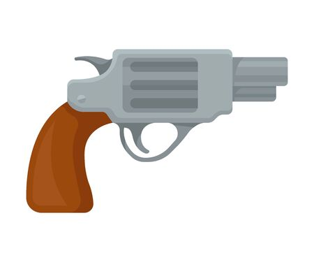 Small gray pistol with a short barrel and a brown handle. Vector illustration on a white background.