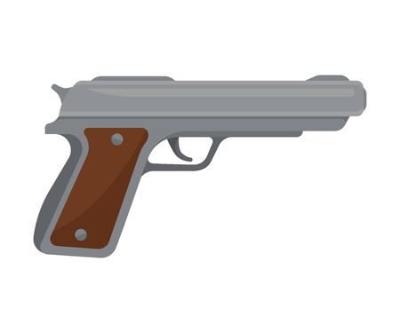 Gray metal pistol with a brown grip. Vector illustration on a white background.  イラスト・ベクター素材